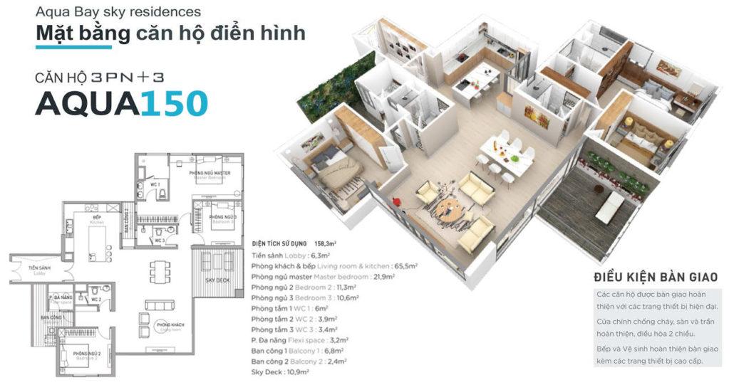 Mặt bằng căn hộ chung cư Aquabay Ecopark - Aqua150