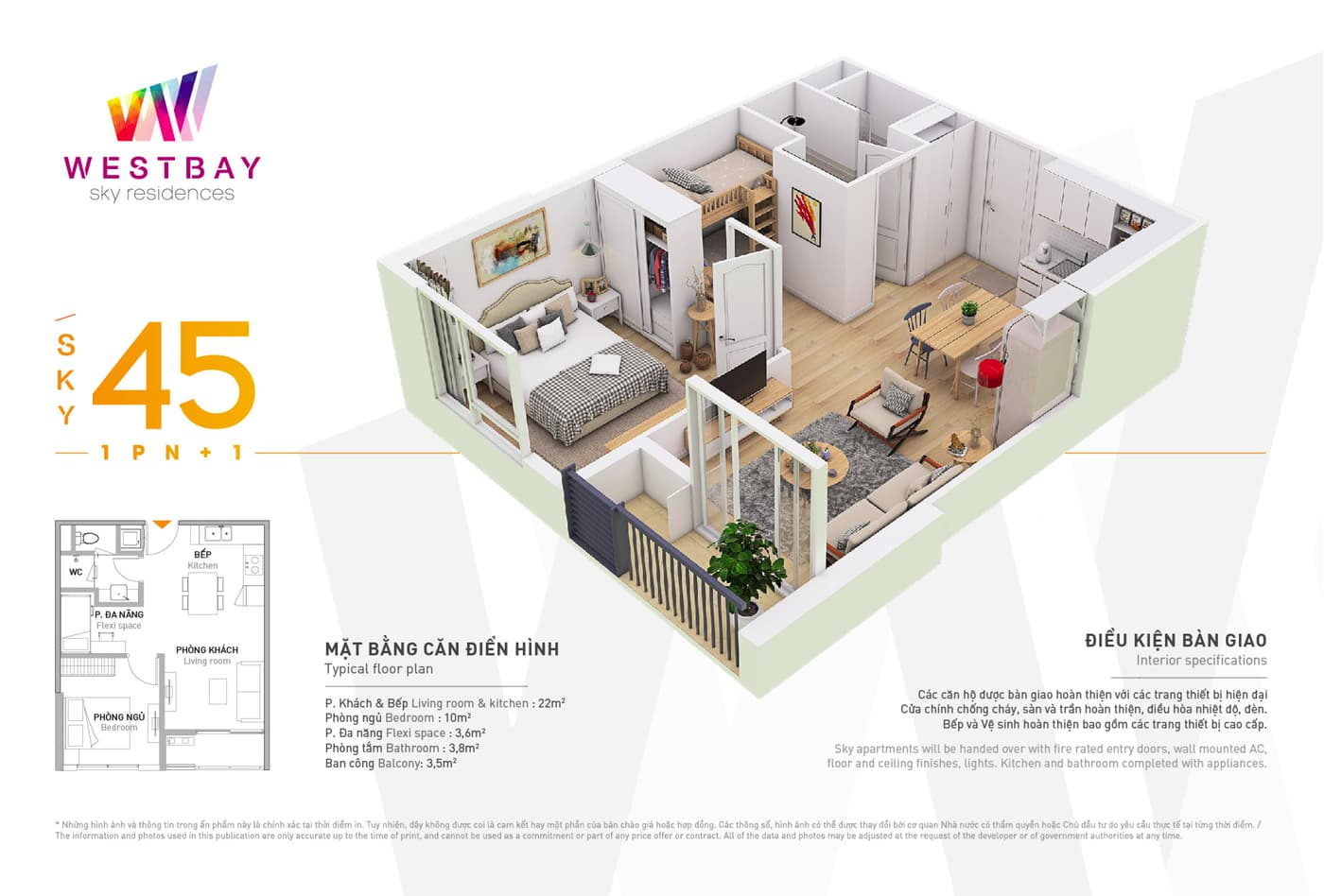 Mặt bằng căn hộ chung cư Westbay Ecopark - 45m2