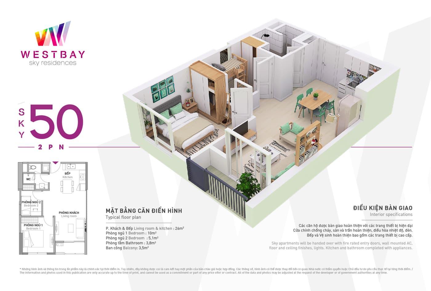 Mặt bằng căn hộ chung cư Westbay Ecopark - 50m2