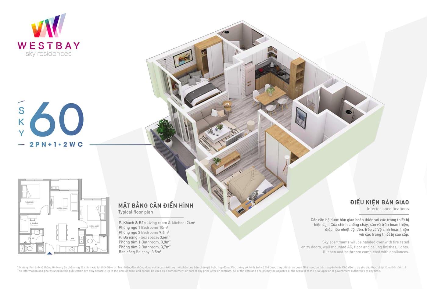 Mặt bằng căn hộ chung cư Westbay Ecopark - 60m2