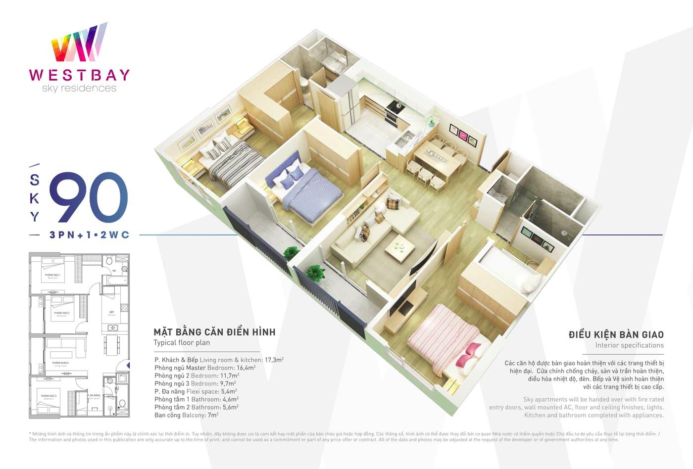 Mặt bằng căn hộ chung cư Westbay Ecopark - 90m2