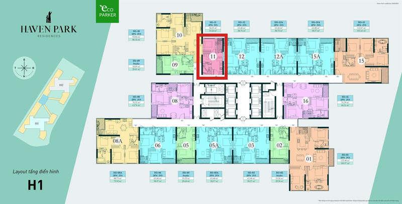 Mặt bằng tầng chung cư Haven Park - Căn hộ 1PN 31m2