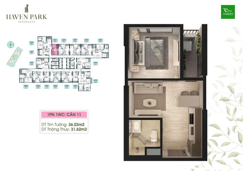 Mặt bằng căn hộ chung cư Haven Park - 1PN 31m2