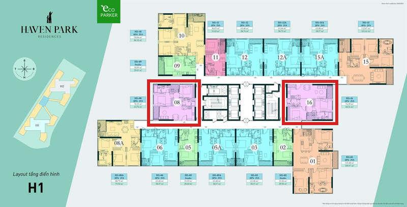 Mặt bằng tầng chung cư Haven Park - Căn hộ 2PN 68m2