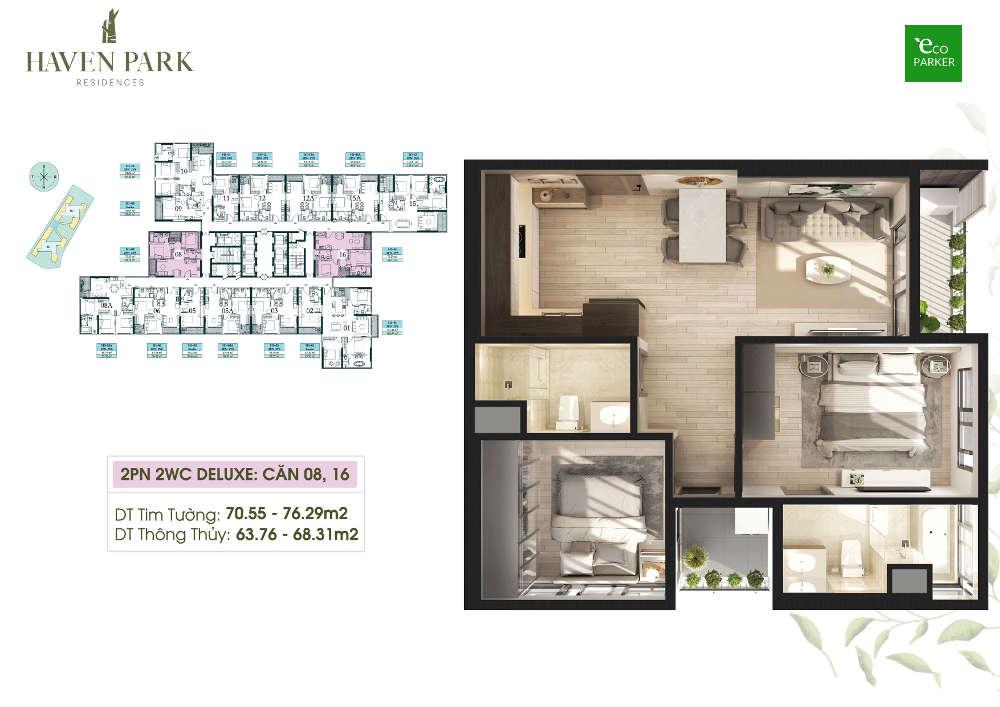 Mặt bằng căn hộ chung cư Haven Park - 2PN 68m2
