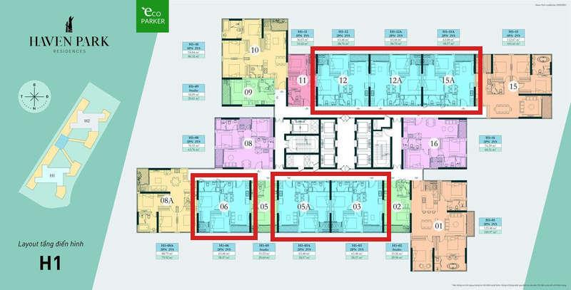 Mặt bằng tầng chung cư Haven Park - Căn hộ 2PN 2VS 58m2