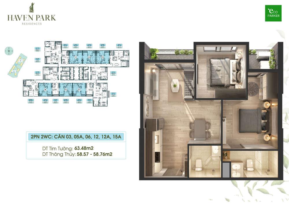 Mặt bằng căn hộ chung cư Haven Park - 2PN 2VS 58m2