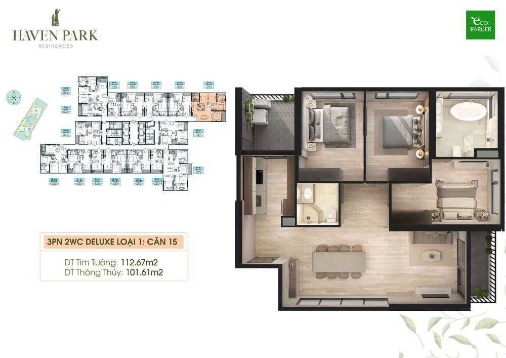 Mặt bằng căn hộ chung cư Haven Park - 3PN 101m2