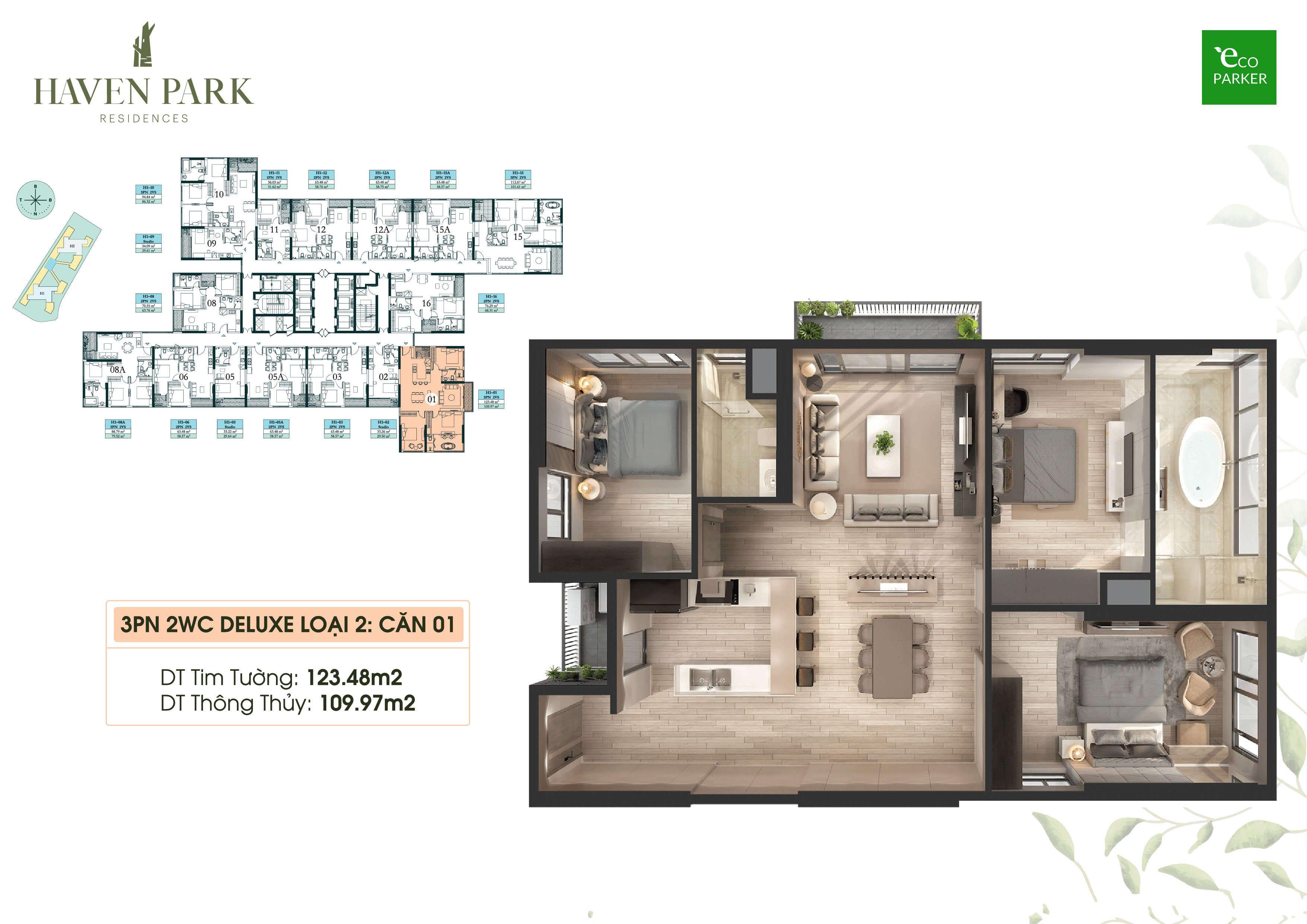 Mặt bằng căn hộ chung cư Haven Park - 3PN 109m2