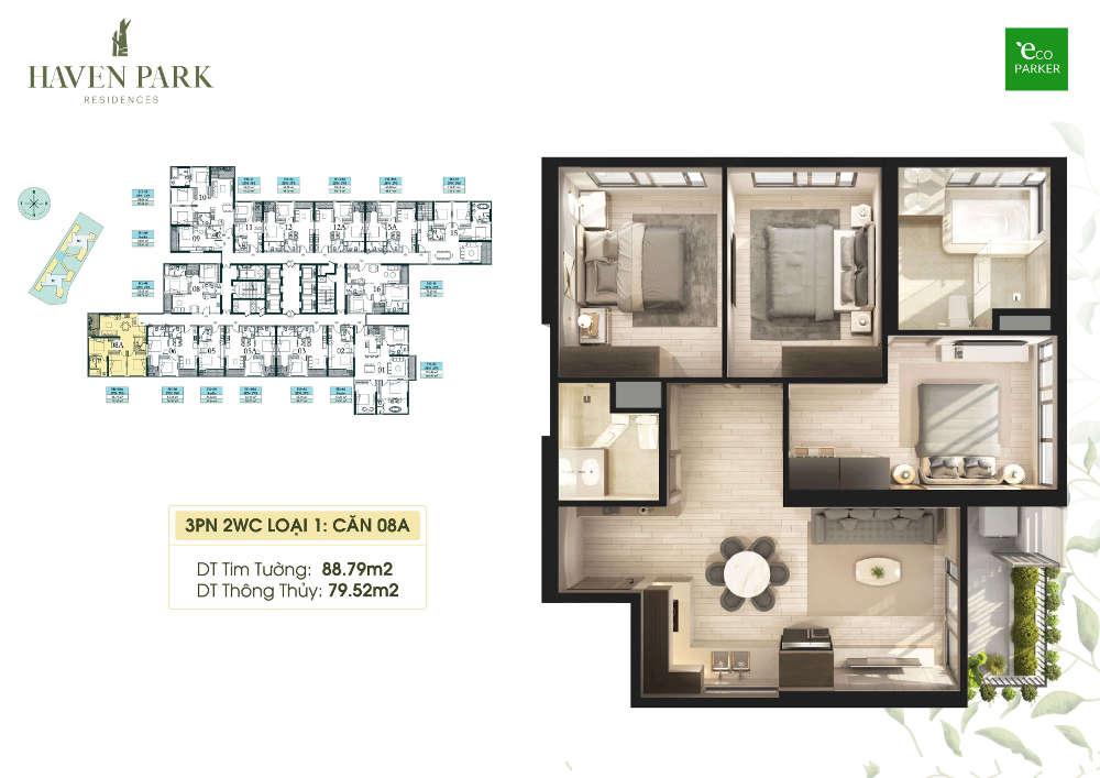 Mặt bằng căn hộ chung cư Haven Park - 3PN 79m2