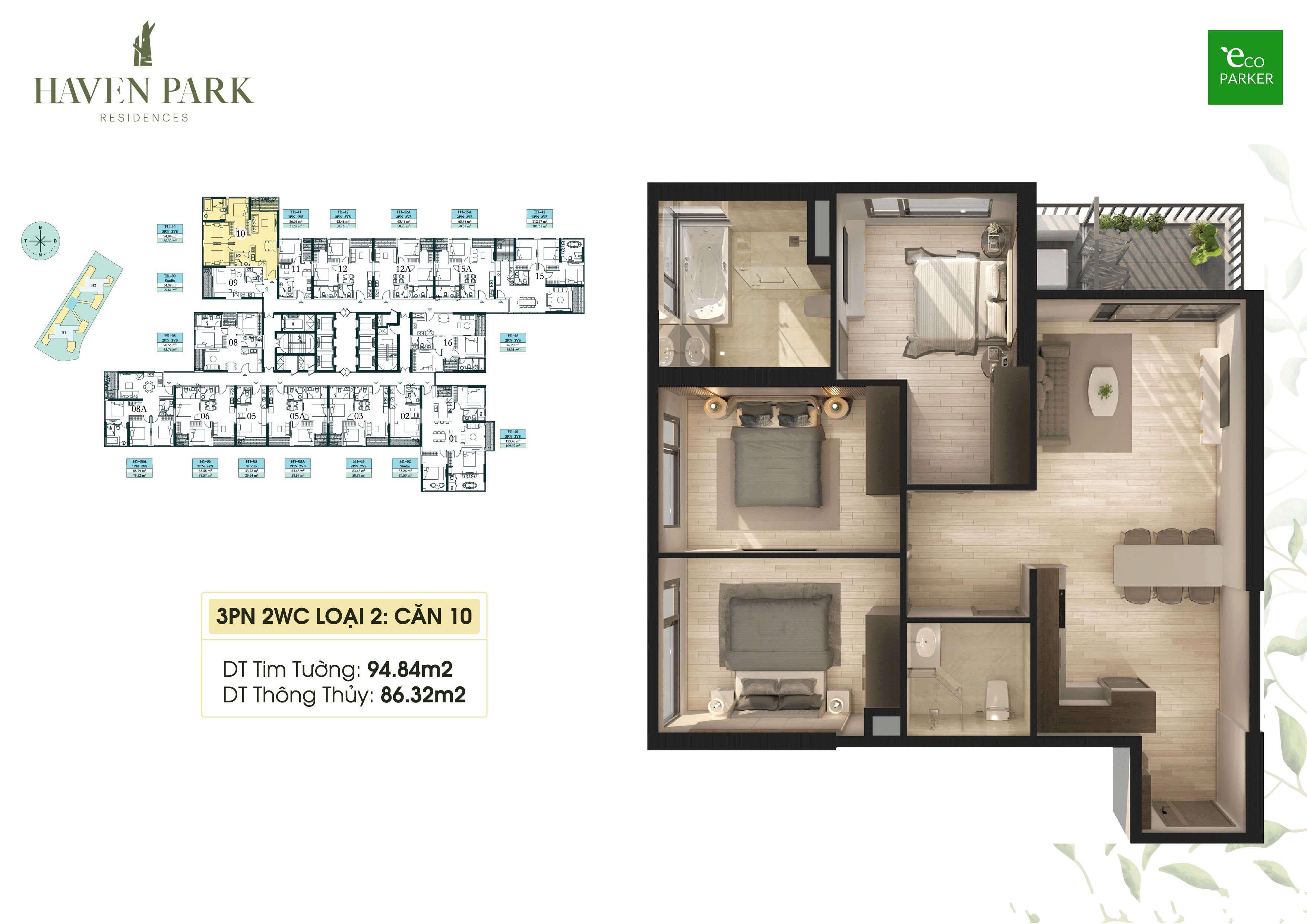 Mặt bằng căn hộ chung cư Haven Park - 3PN 86m2