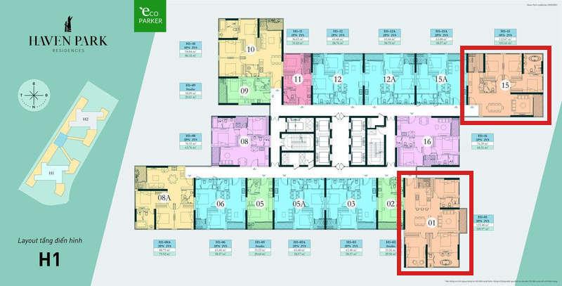 Mặt bằng căn hộ chung cư Haven Park - 3PN 101m2 và 109m2