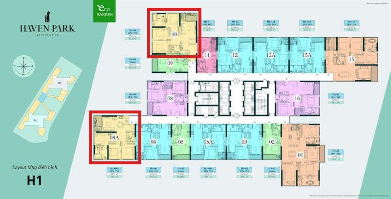 Mặt bằng tầng chung cư Haven Park - Căn hộ 3PN 79m2 và 86m2