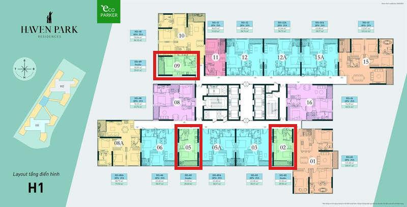 Mặt bằng tầng chung cư Haven Park - căn hộ Studio 29m2