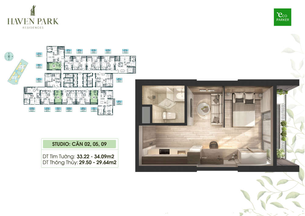 Mặt bằng căn hộ chung cư Haven Park - Studio 29m2