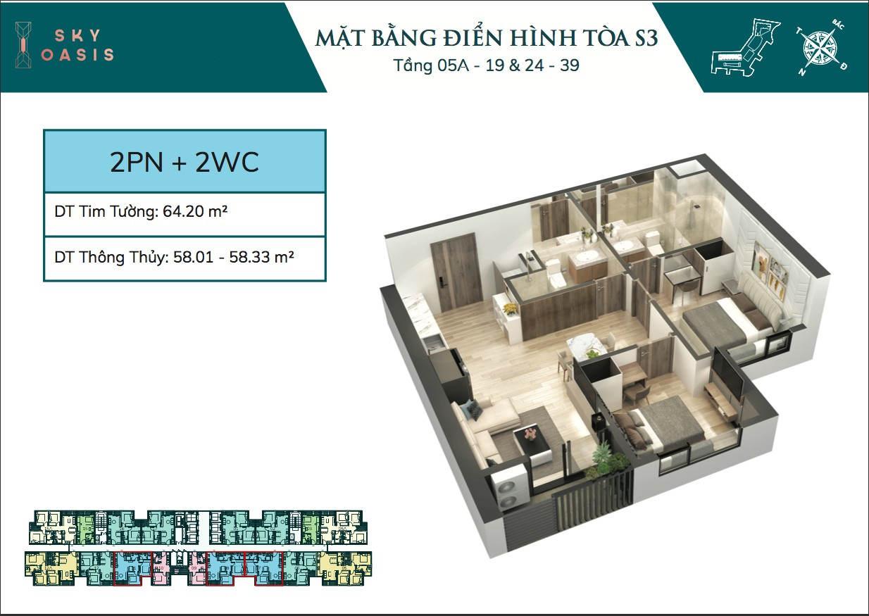 Mặt bằng căn hộ chung cư Sky Oasis S3 - 2PN 2VS 58m2
