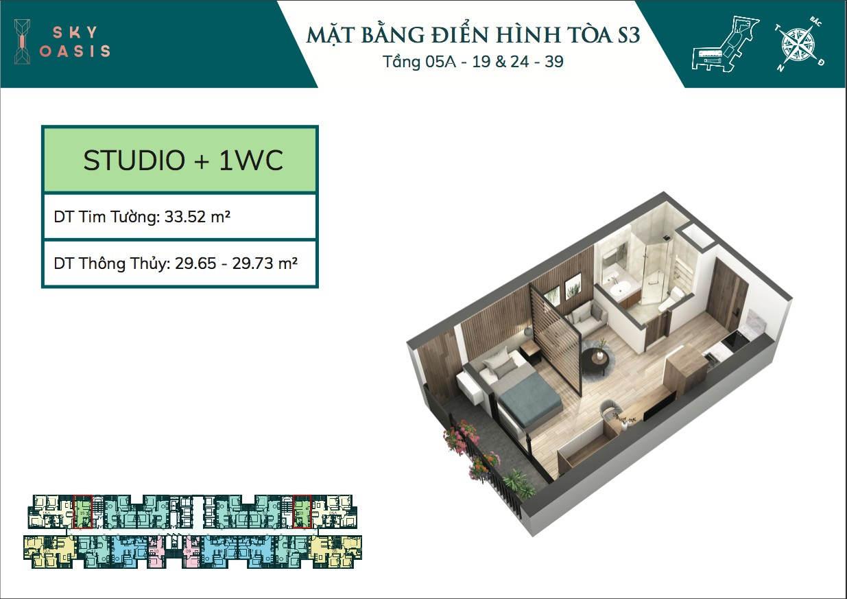 Mặt bằng căn hộ chung cư Sky Oasis S3 - Studio 30m2