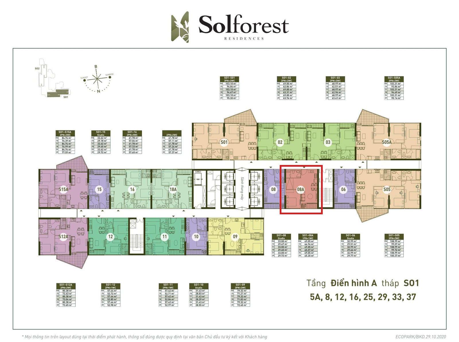 Vị trí căn 1PN Solforest tòa S01