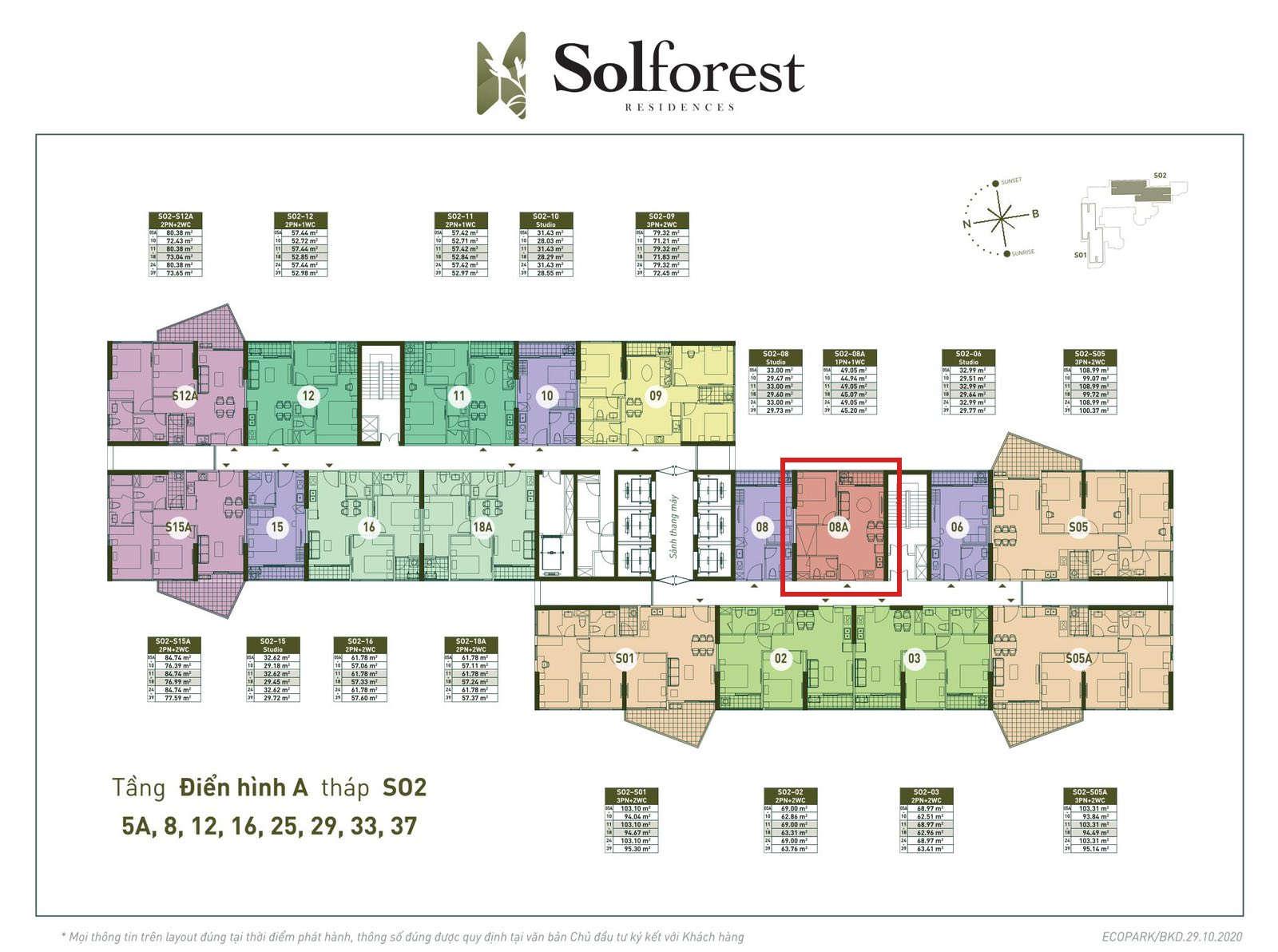 Vị trí căn 1PN Solforest tòa S02