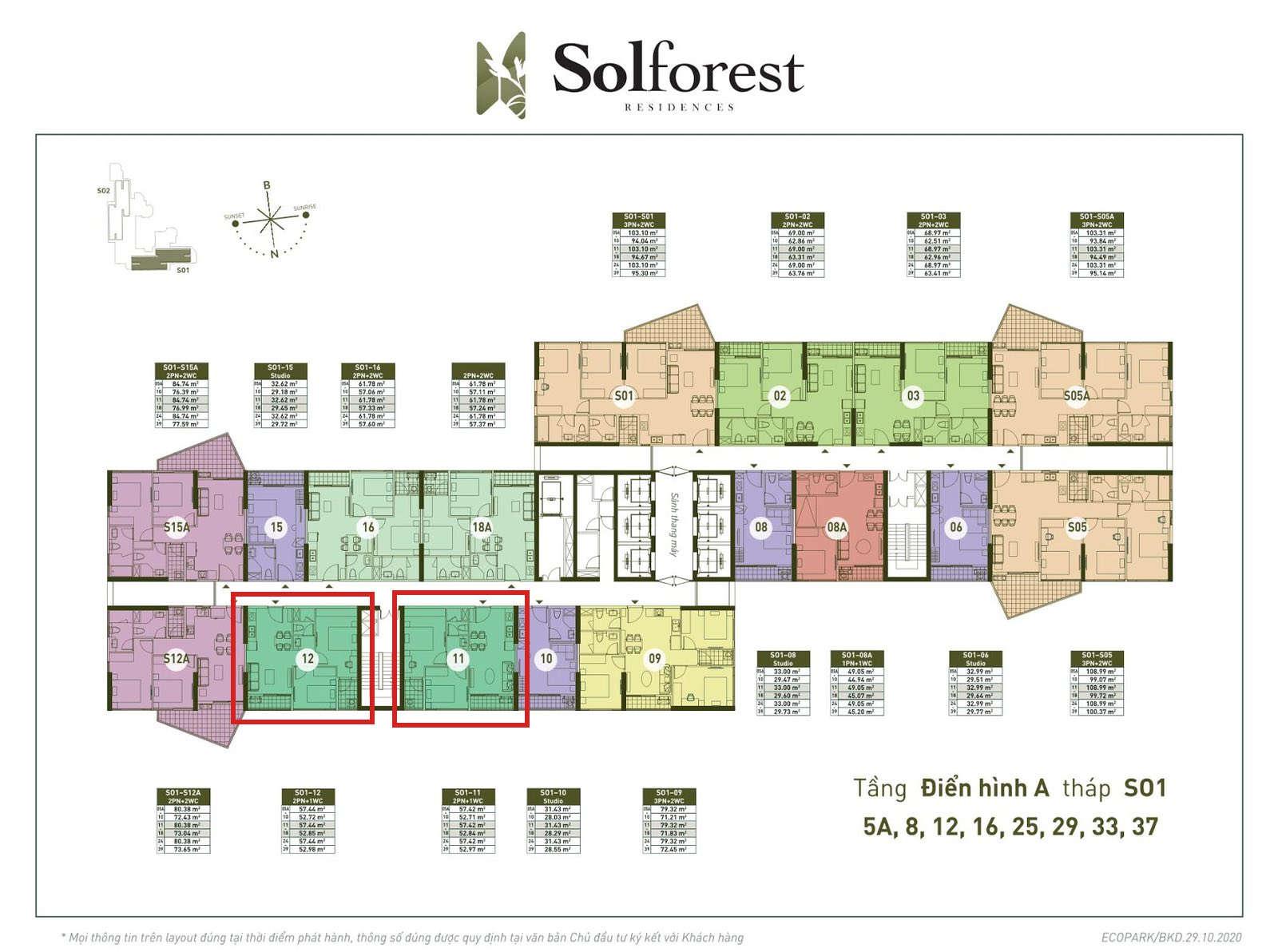 Vị trí căn 2PN 1VS Solforest tòa S01