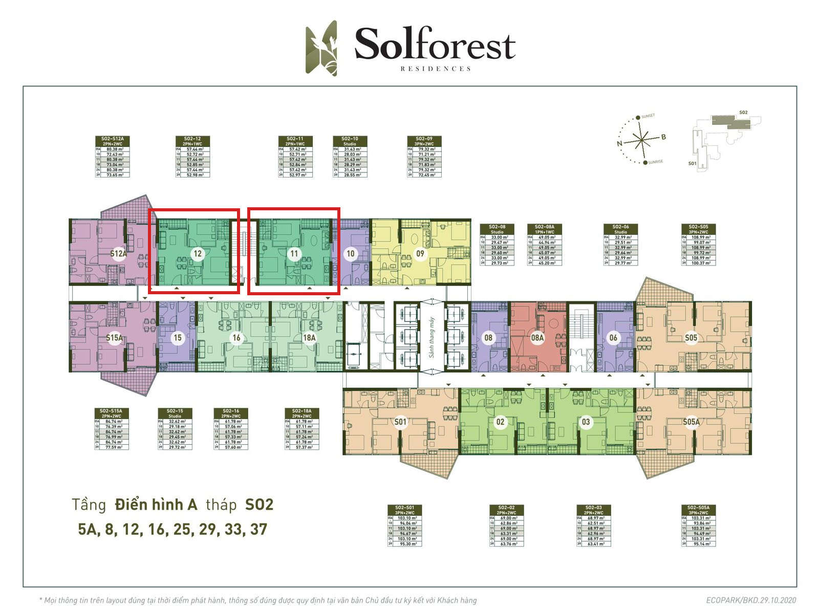Vị trí căn 2PN 1VS Solforest tòa S02