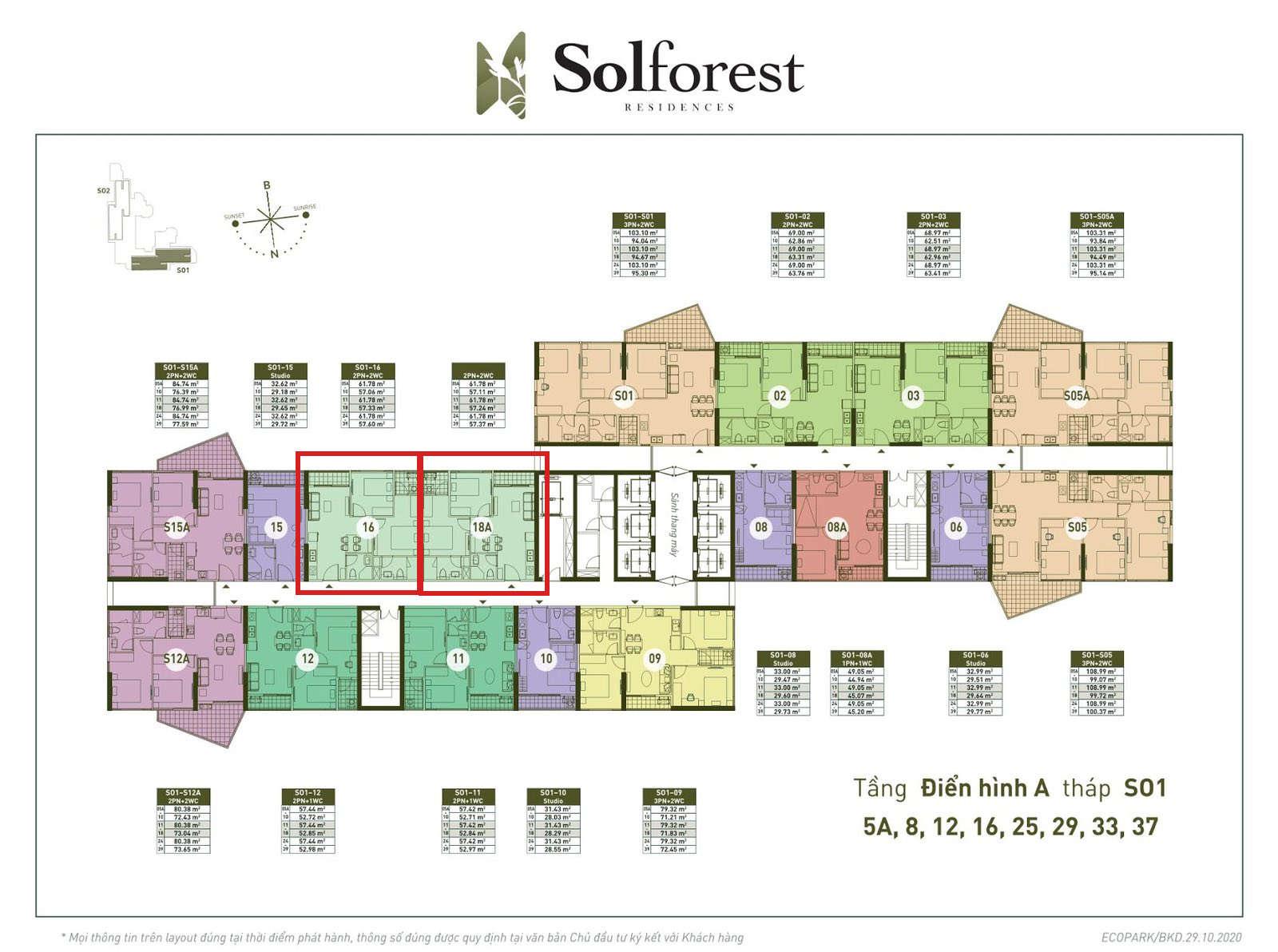 Vị trí căn 2PN 2VS 57m2 Solforest tòa S01