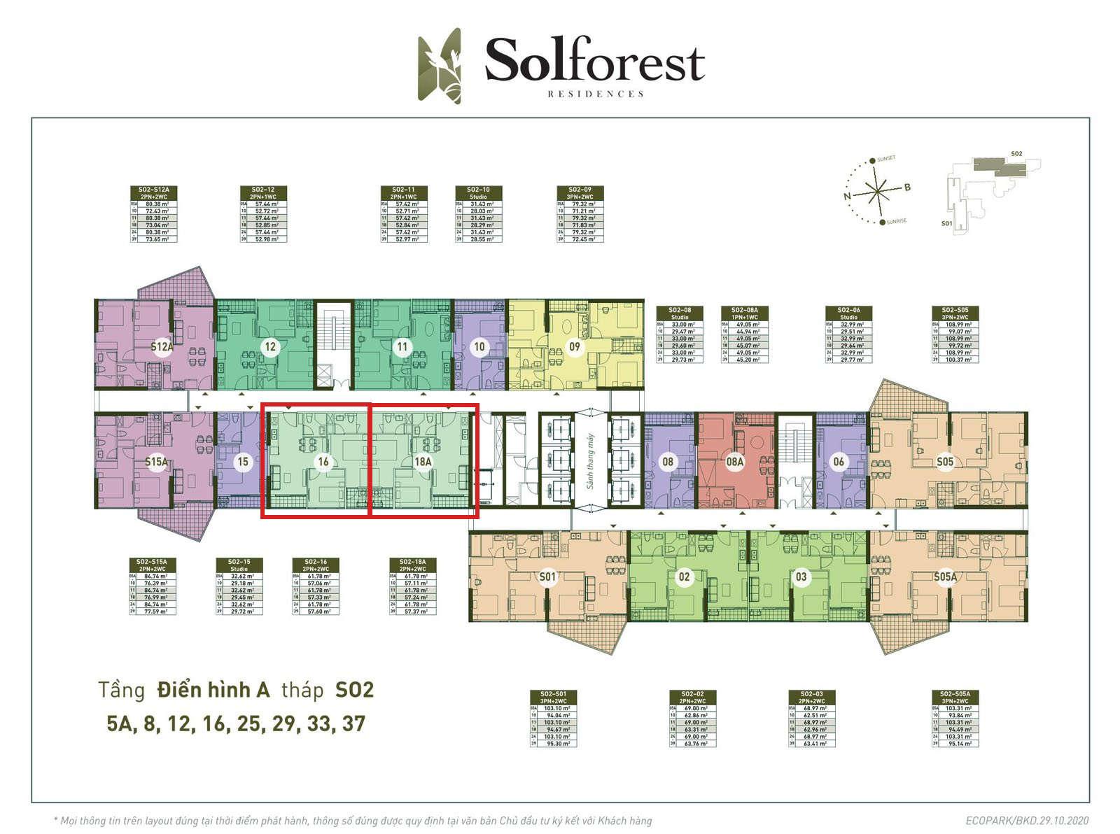 Vị trí căn 2PN 2VS 57m2 Solforest tòa S02