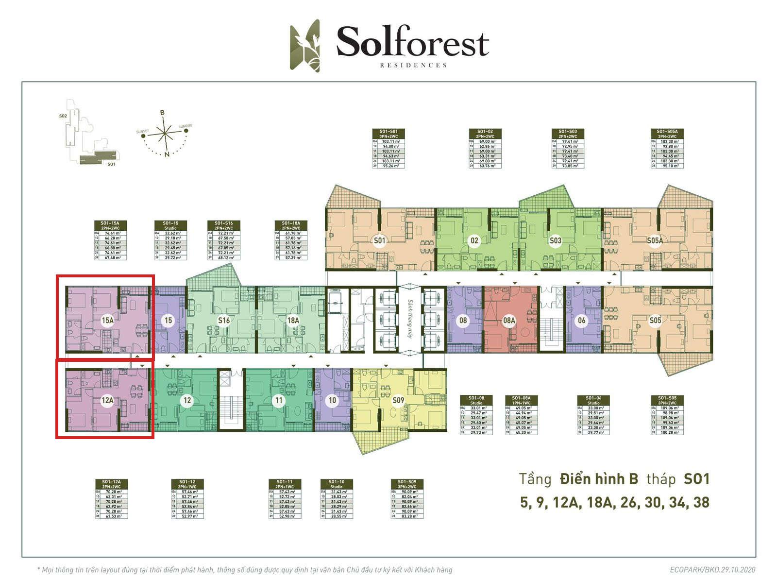 Vị trí căn góc 2PN 2VS 63-67m2 Solforest tòa S01