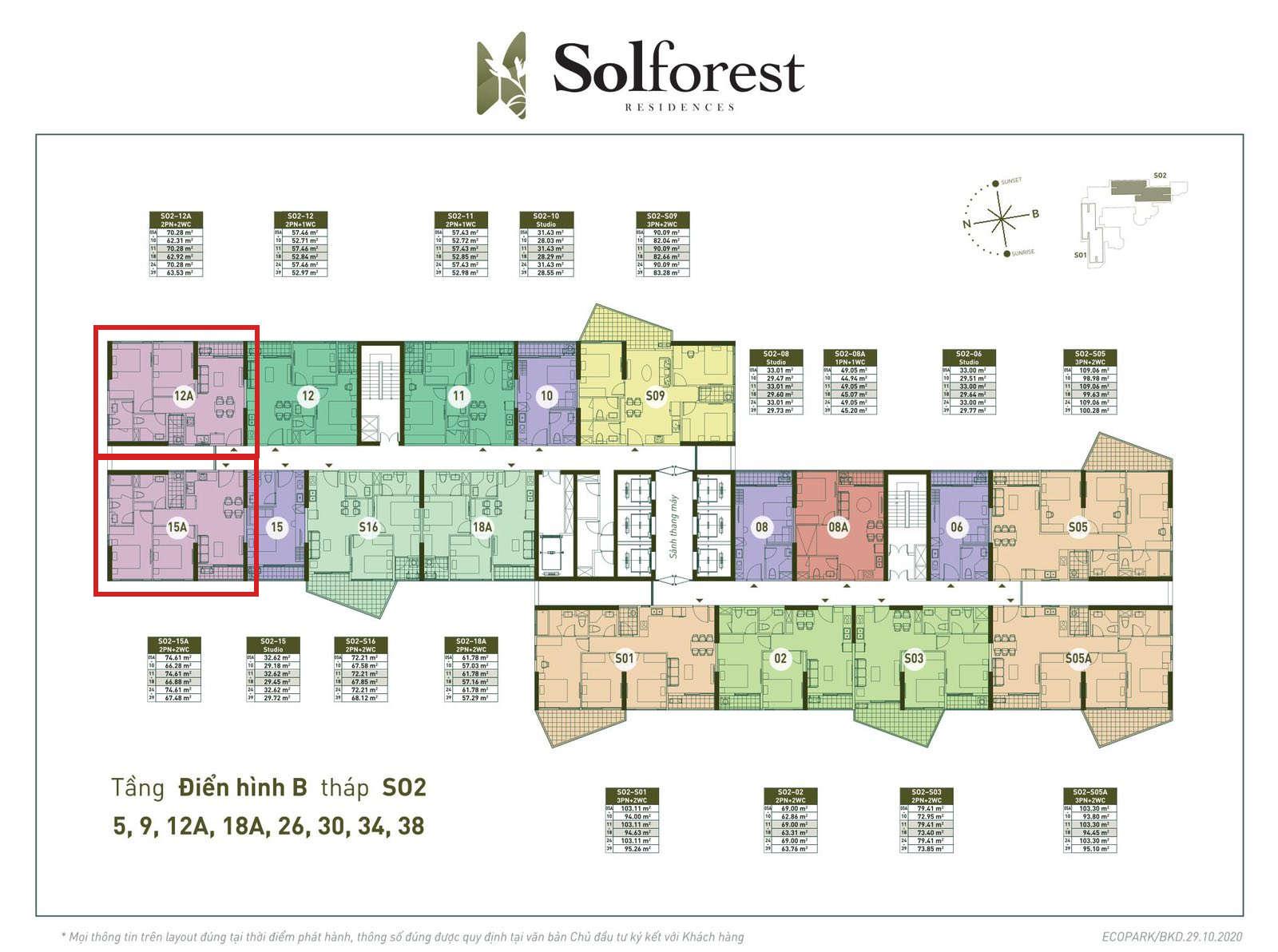 Vị trí căn góc 2PN 2VS 63-67m2 Solforest tòa S02