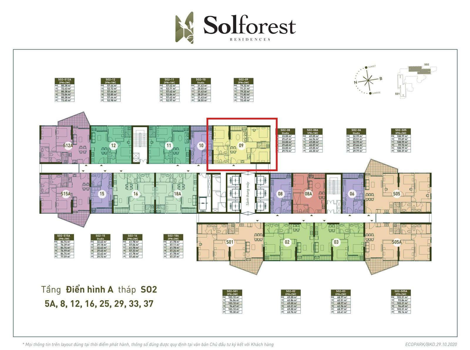 Vị trí căn 3PN 2VS Solforest tòa S02