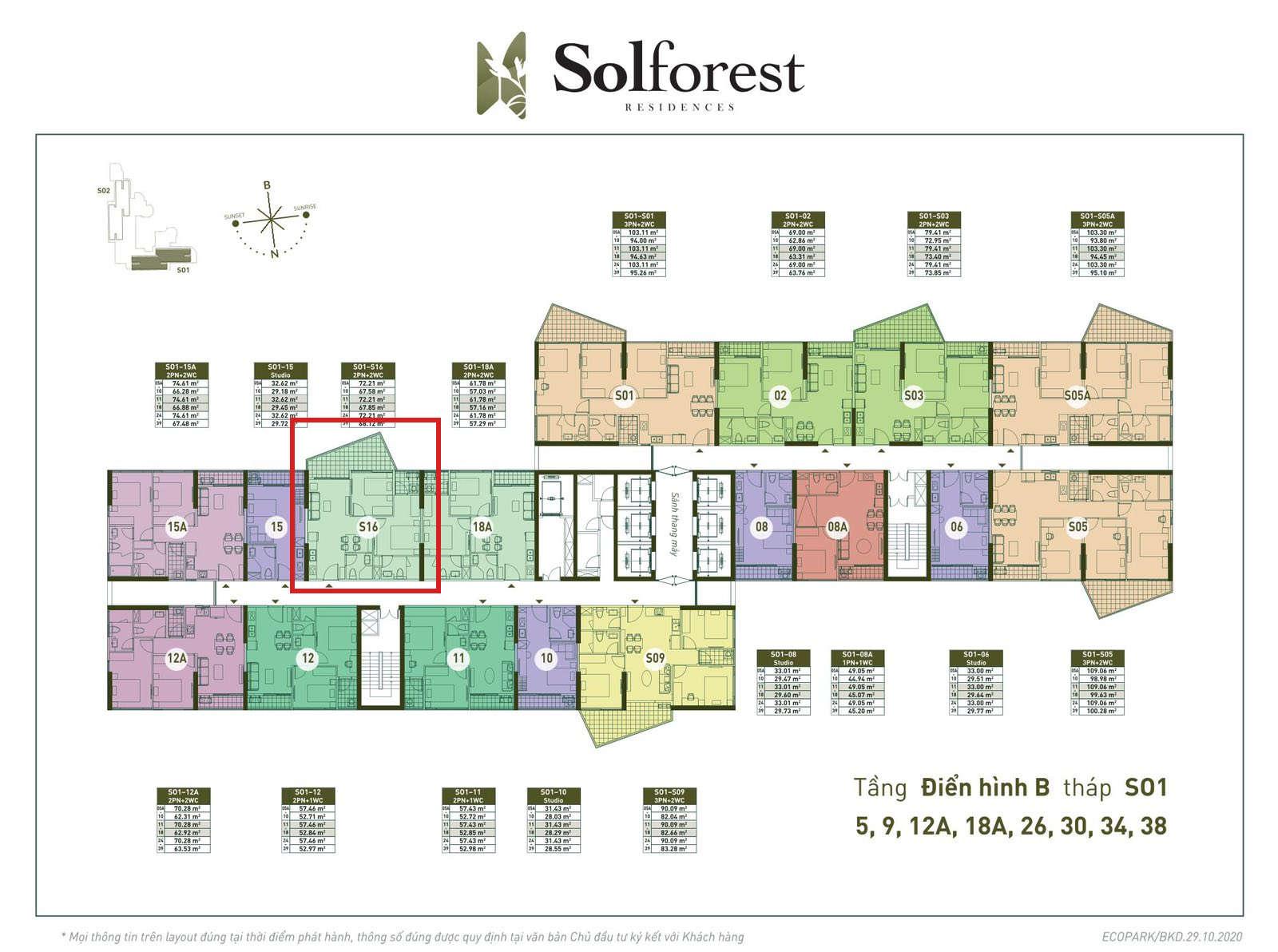 Vị trí căn 2PN 2VS 67m2 sân vườn Solforest tòa S01