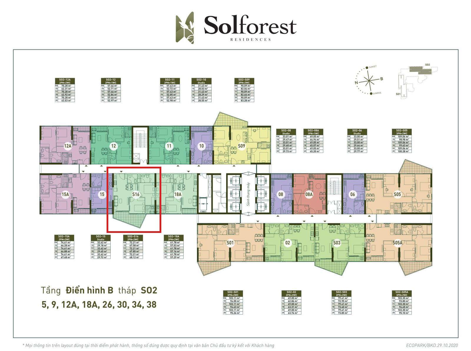 Vị trí căn 2PN 2VS 67m2 sân vườn Solforest tòa S02
