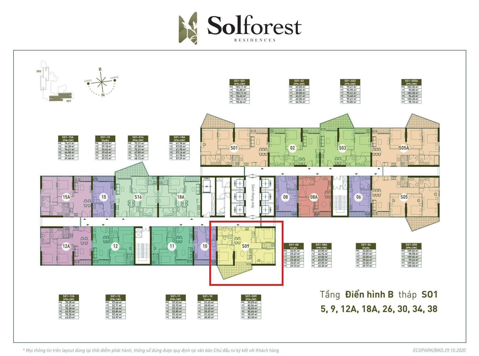Vị trí căn 3PN 2VS sân vườn Solforest 83m2 tòa S01