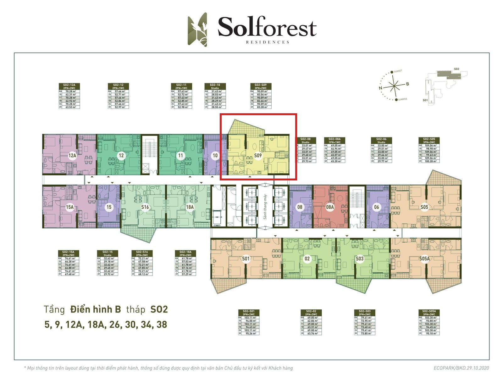 Vị trí căn 3PN 2VS sân vườn Solforest 83m2 tòa S02