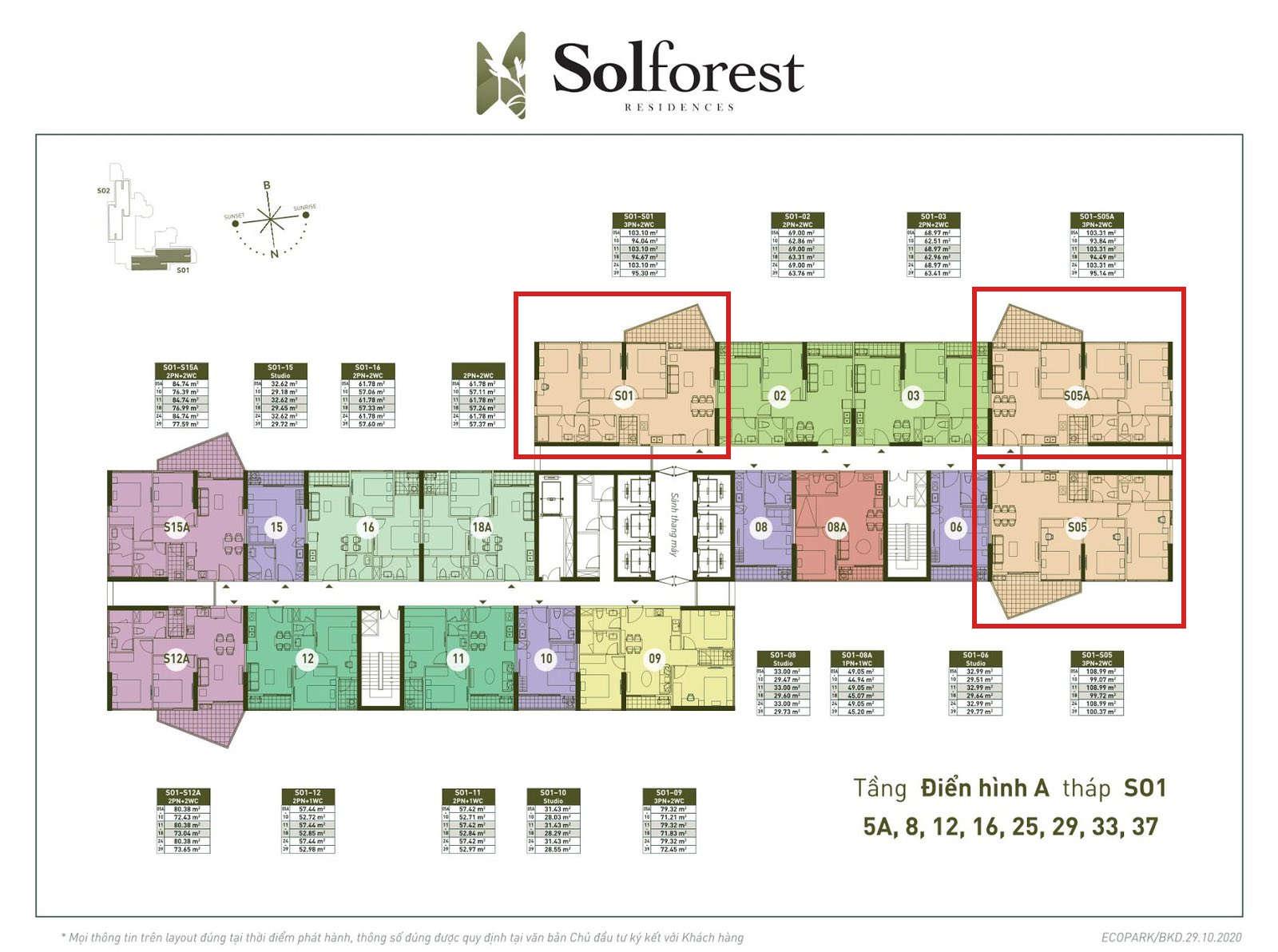 Vị trí căn 3PN 2VS sân vườn Solforest 94-100m2 tòa S01