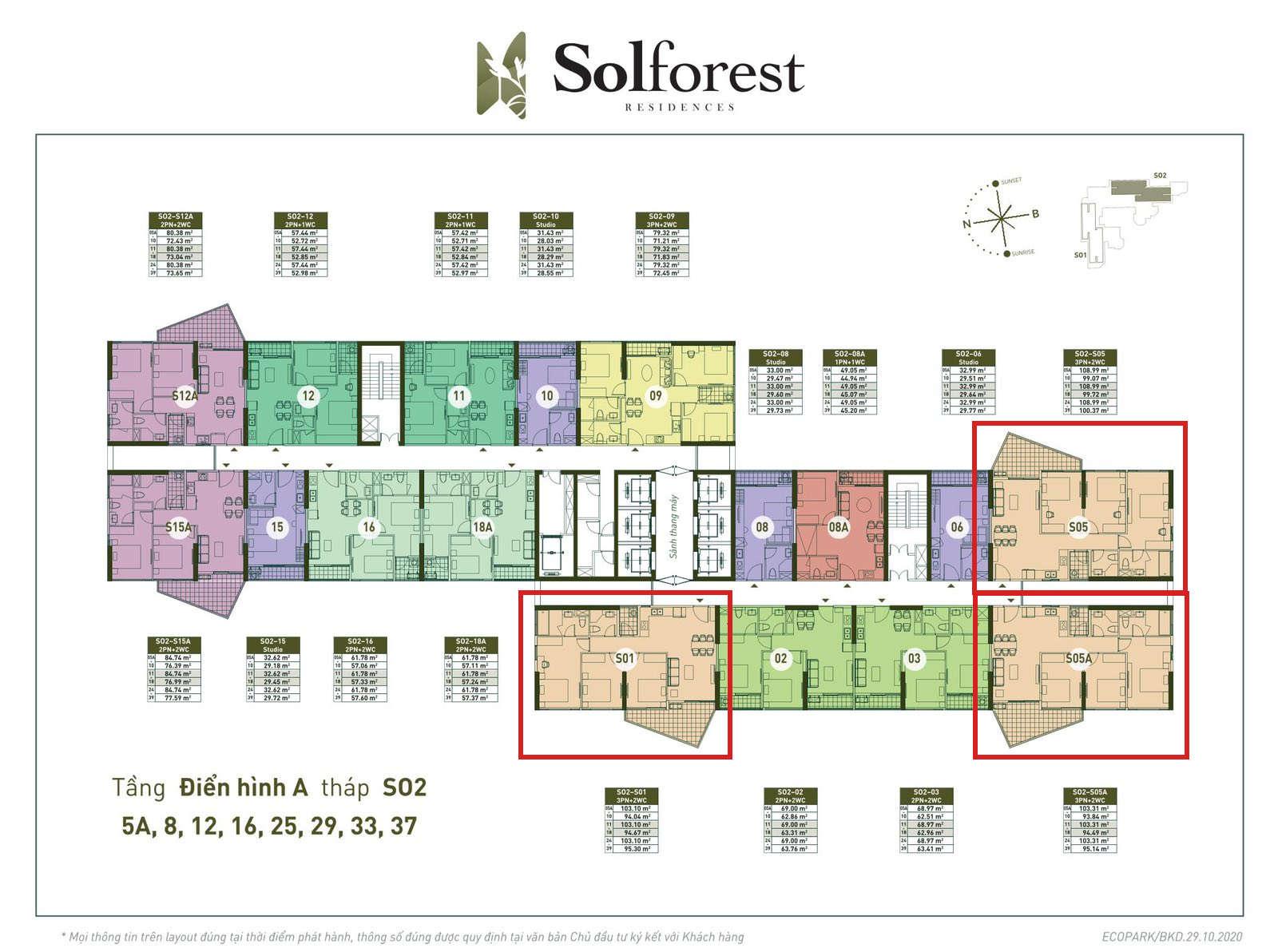 Vị trí căn 3PN 2VS sân vườn Solforest 94-100m2 tòa S02