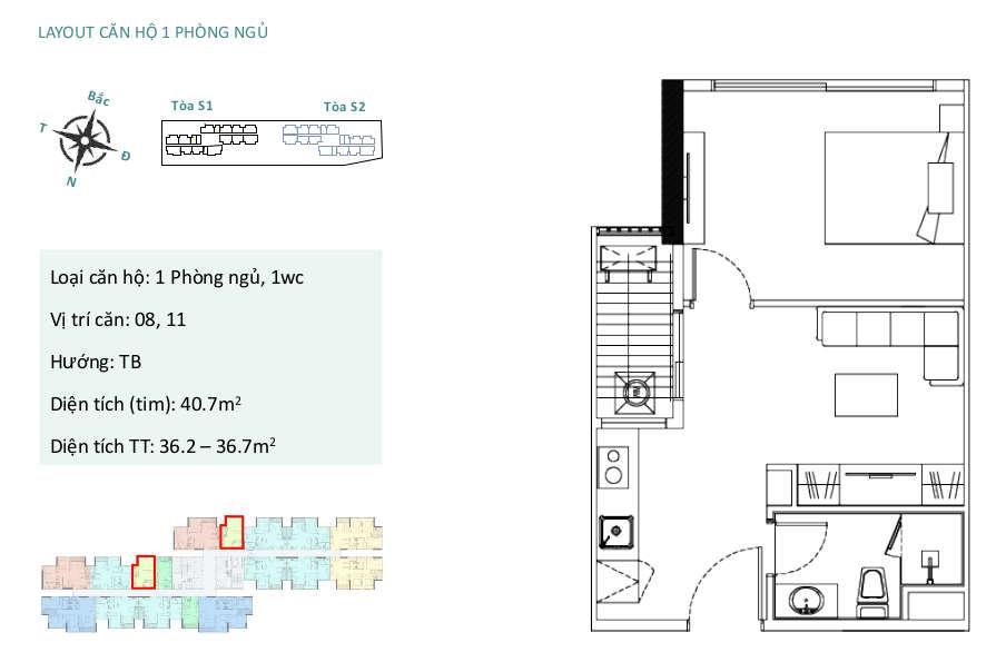 Mặt bằng căn hộ chung cư Sky Oasis Ecopark - A2 1PN 40m2