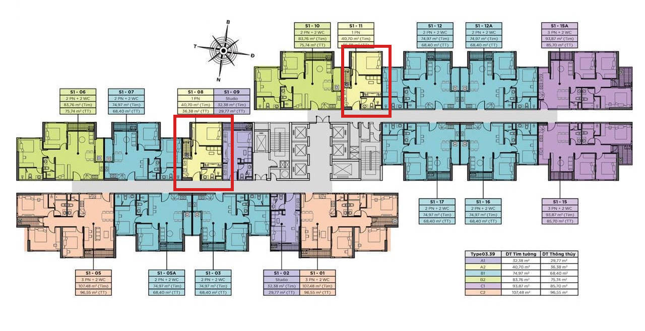 Vị trí căn hộ chung cư Sky Oasis Ecopark - A2 1PN 40m2