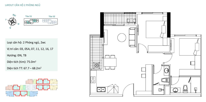 Mặt bằng căn hộ chung cư Sky Oasis Ecopark - 2PN 68m2
