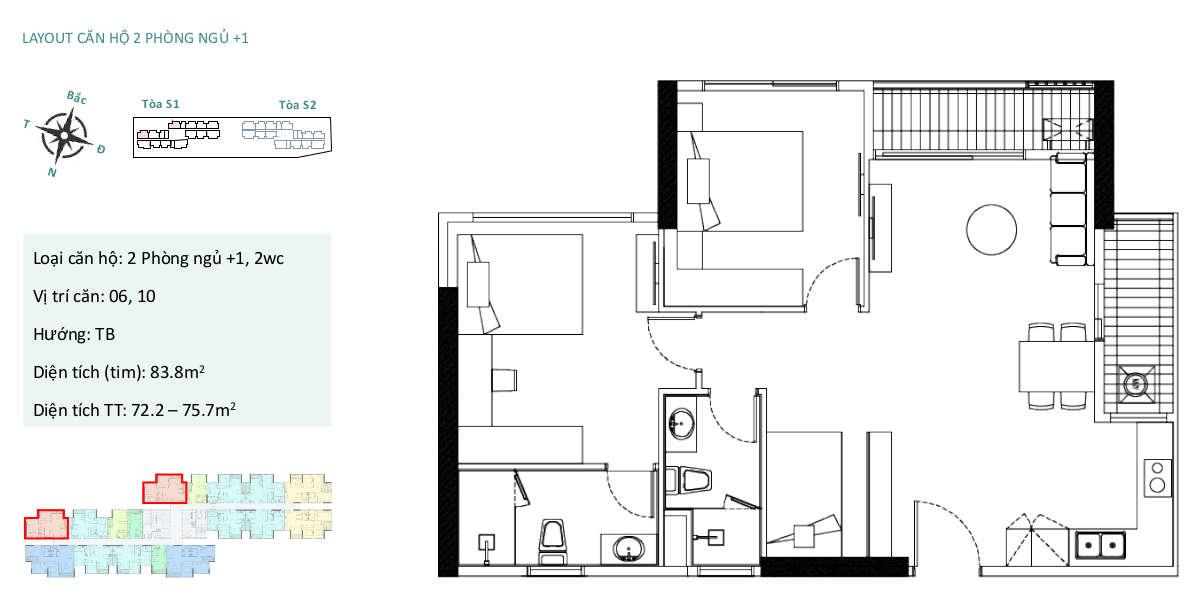 Mặt bằng căn hộ chung cư Sky Oasis Ecopark - 2PN+1 76m2