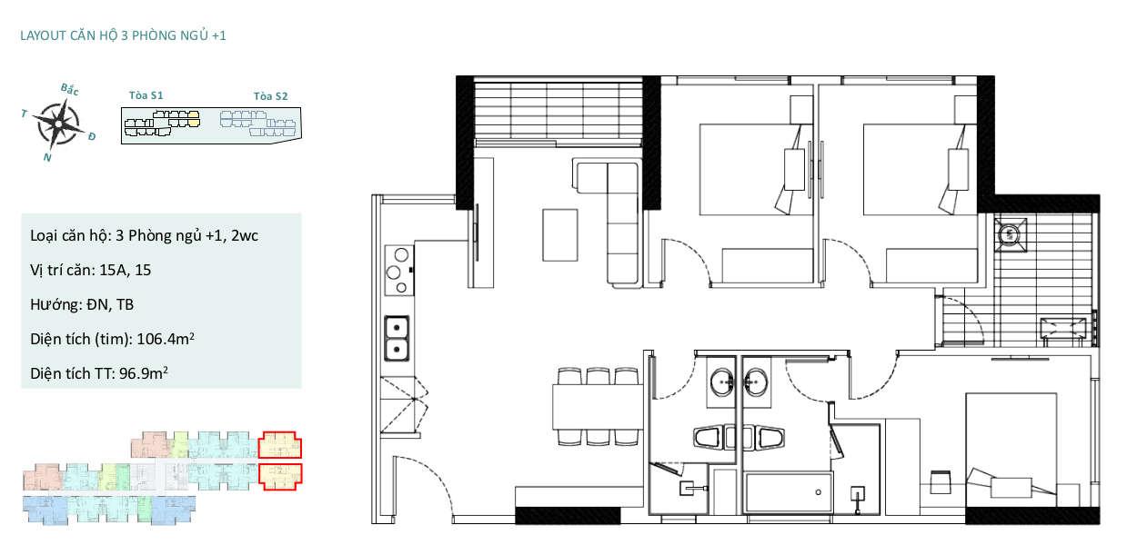 Mặt bằng căn hộ chung cư Sky Oasis Ecopark - 3PN 86m2