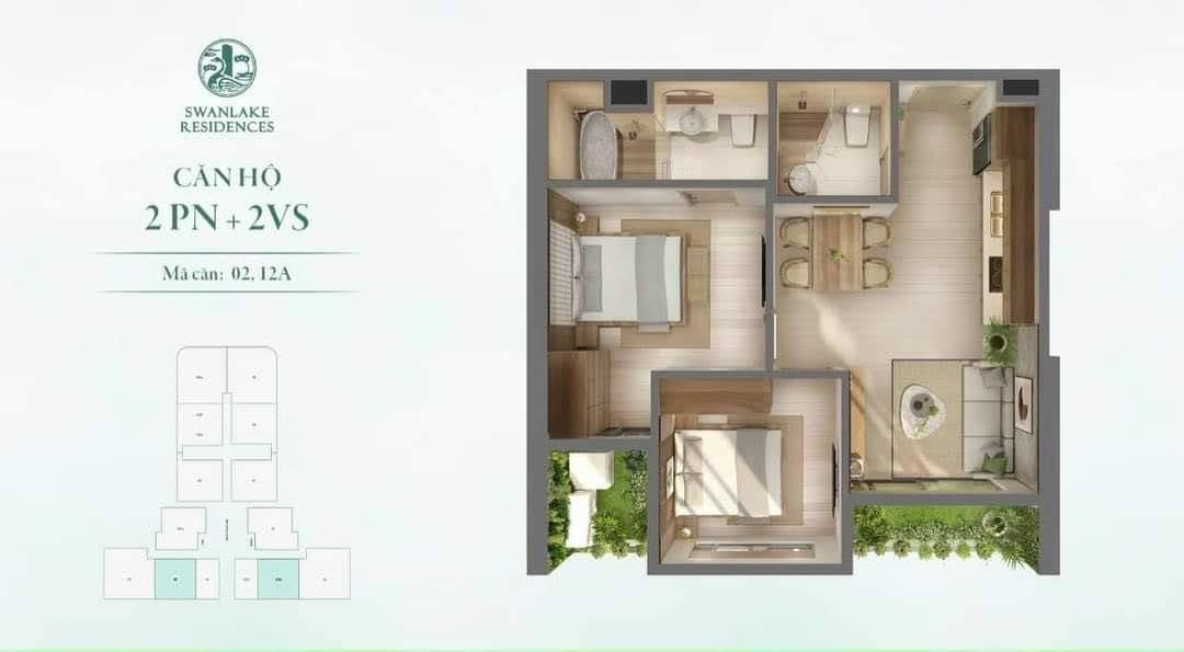 Mặt bằng căn hộ Swanlake Onsen - Tòa R1-R2-R3 - 2 phòng ngủ 58m2