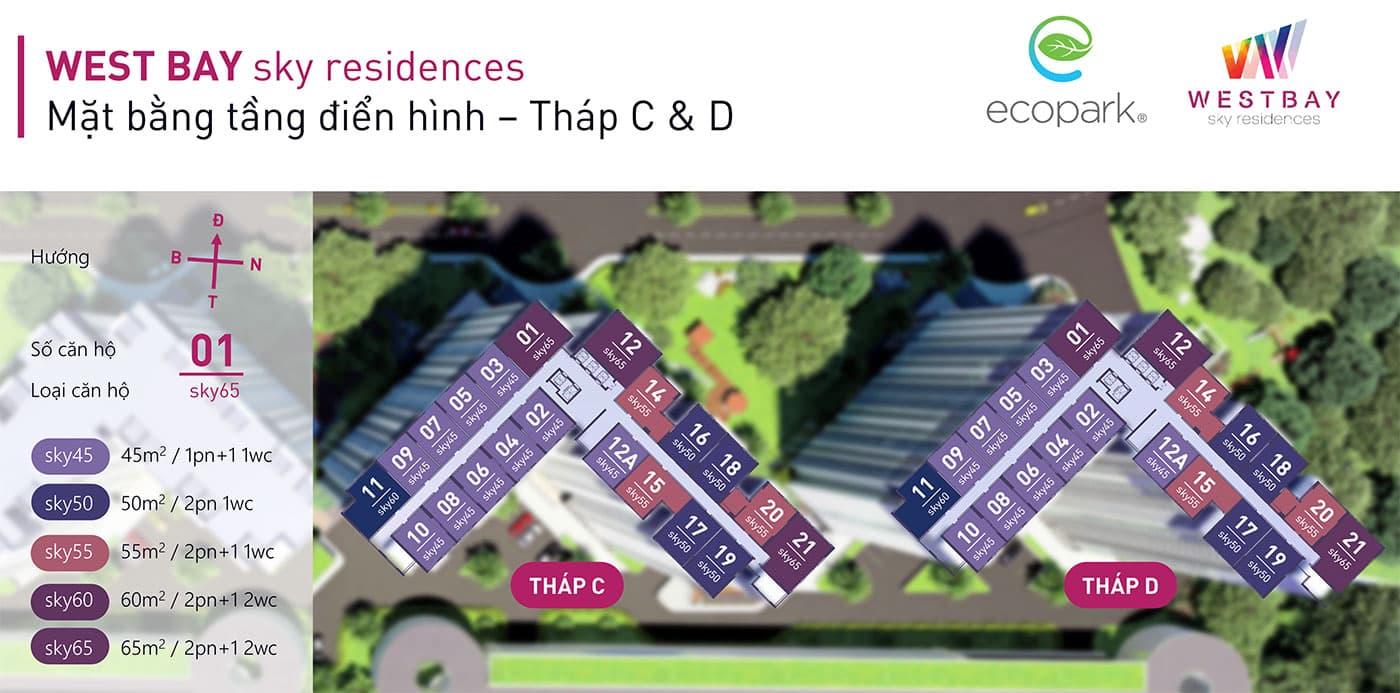 Mặt bằng tầng chung cư Westbay Ecopark - Tháp C&D