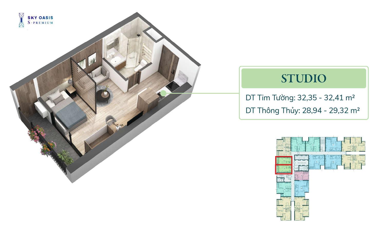 Mặt bằng căn hộ chung cư Sky Oasis S-Premium - Studio 30m2