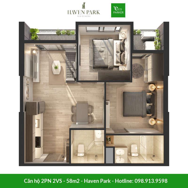 Căn hộ 2 phòng ngủ 2 vệ sinh 58m2 tại chung cư Haven Park