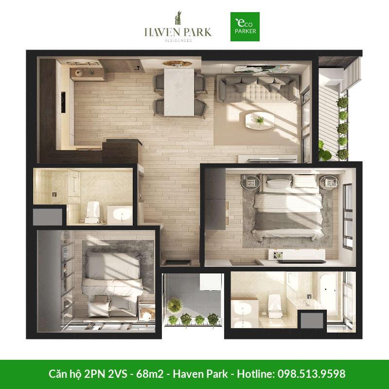 Căn hộ 2 phòng ngủ 2 vệ sinh 68m2 tại chung cư Haven Park