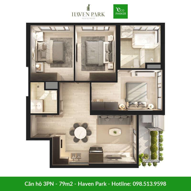 Căn hộ 3 phòng ngủ 79m2 tại chung cư Haven Park