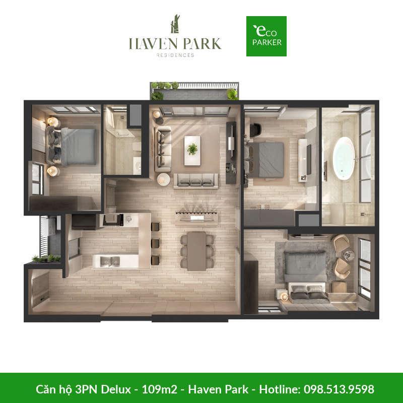 Căn hộ 3 phòng ngủ 109m2 tại chung cư Haven Park