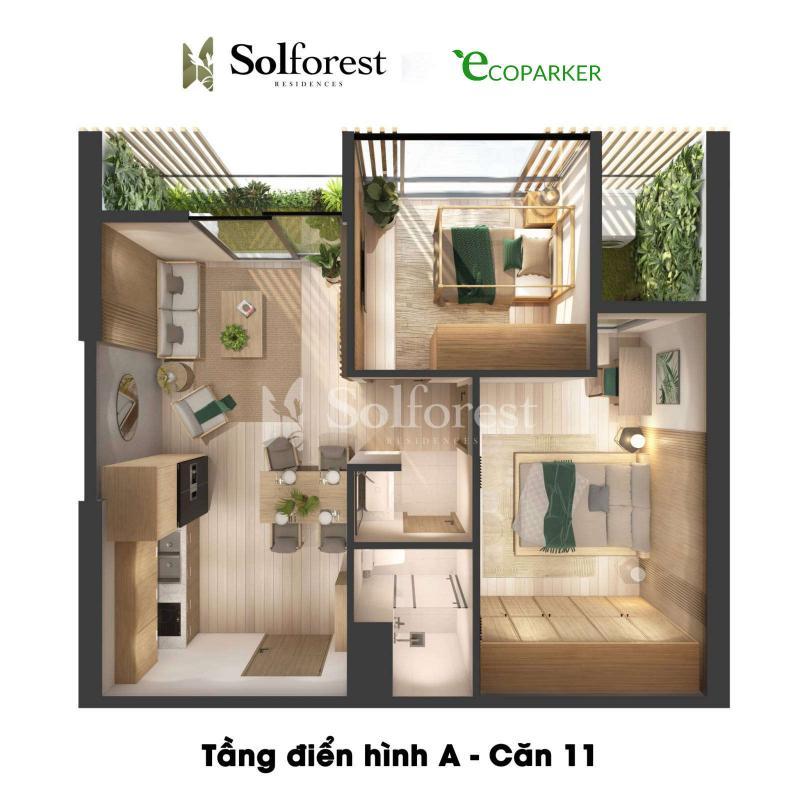 Căn hộ 2PN 1VS Solforest Ecopark
