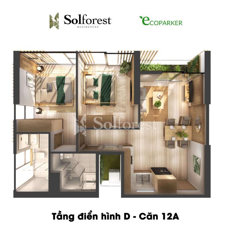 Căn hộ điển hình 2PN 2VS 63-67m2 Solforest Ecopark